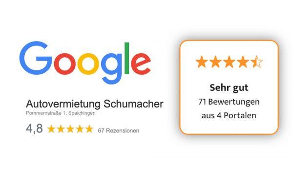 Bewertungen auf Portalen und Google der Autovermietung Schumacher Spaichingen